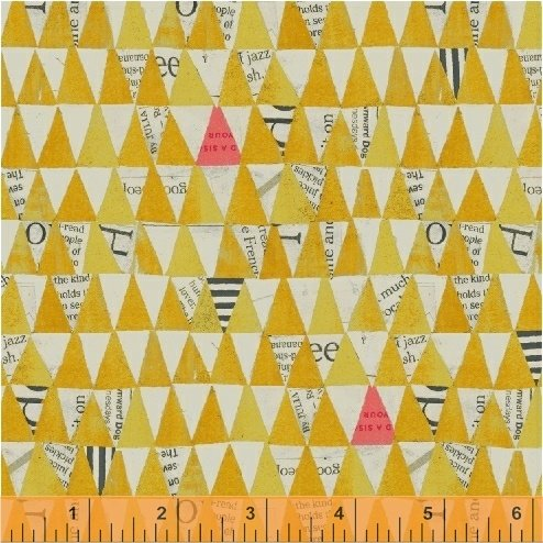 Stacked Triangles in Mustard by Carrie Bloomston from the Wonder collection for Windham #50521-4