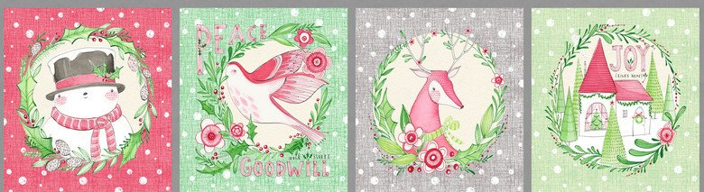 12 panel, Holiday Wishes by Cori Dantini from the Merry and Bright collection for Blend #112.020.01.1