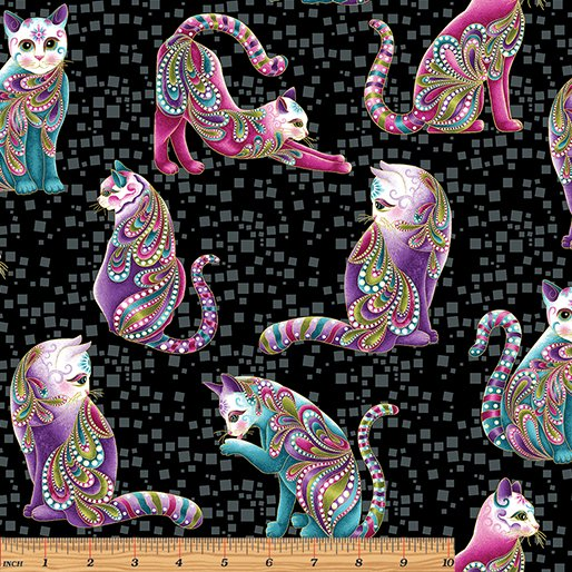 Arist-o-cats in Black/Multi by Ann Lauer from the Cat-i-tude collection for Benartex #4200M12