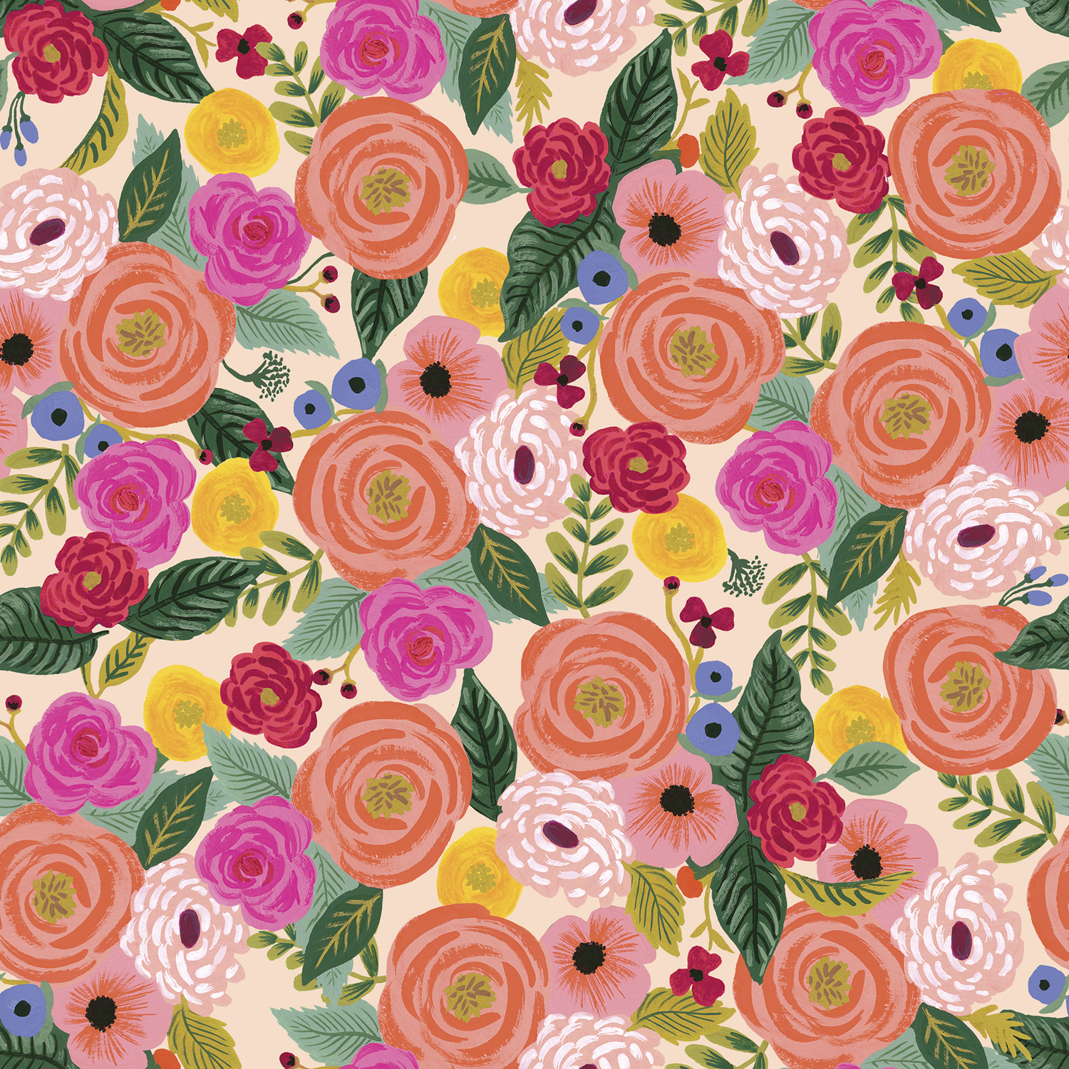 Juliet Rose in Cream (Rayon Fabric) by Rifle Paper Co from the English Garden collection for Cotton and Steel #AB806415