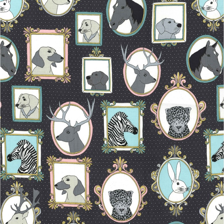 Pre-order: Little Animal Portraits in Navy and Metallic for Michael Miller #CM7638