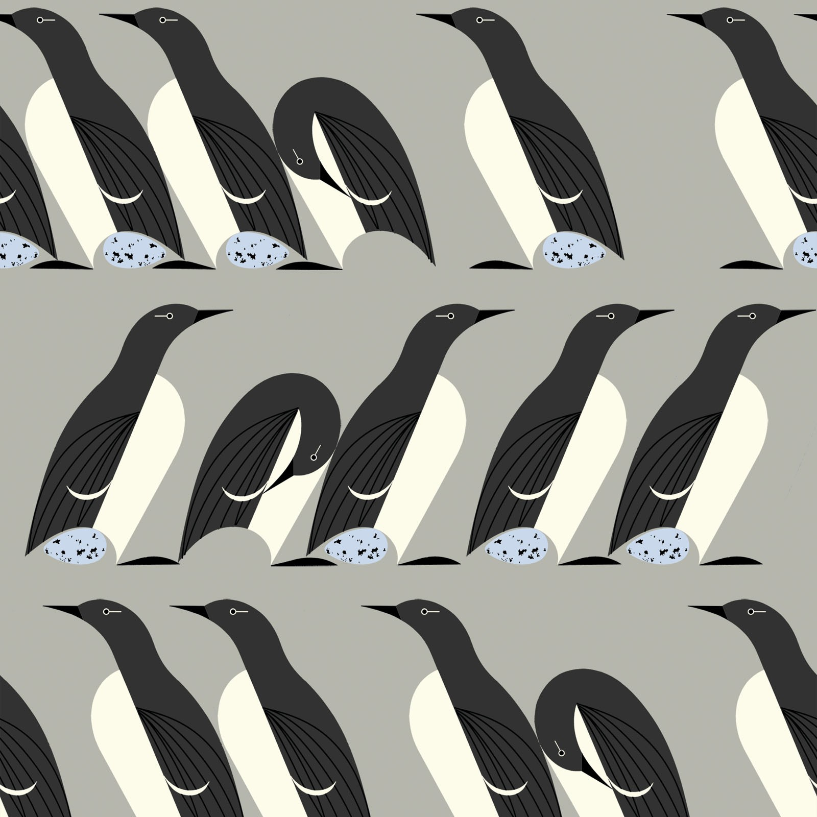 Murre (Poplin Fabric) by Charley Harper from the Best of Charley Harper collection for Birch #CH83