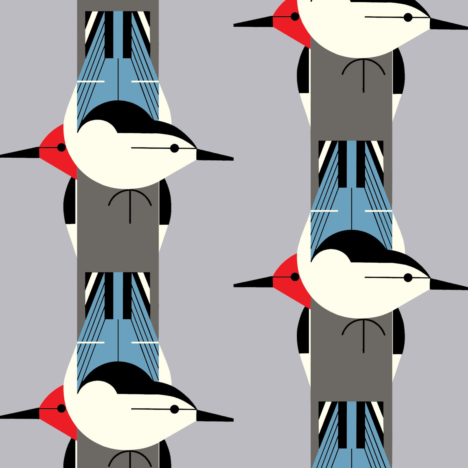 Upside Downside (Poplin Fabric) by Charley Harper from the Best of Charley Harper collection for Birch #CH87Green