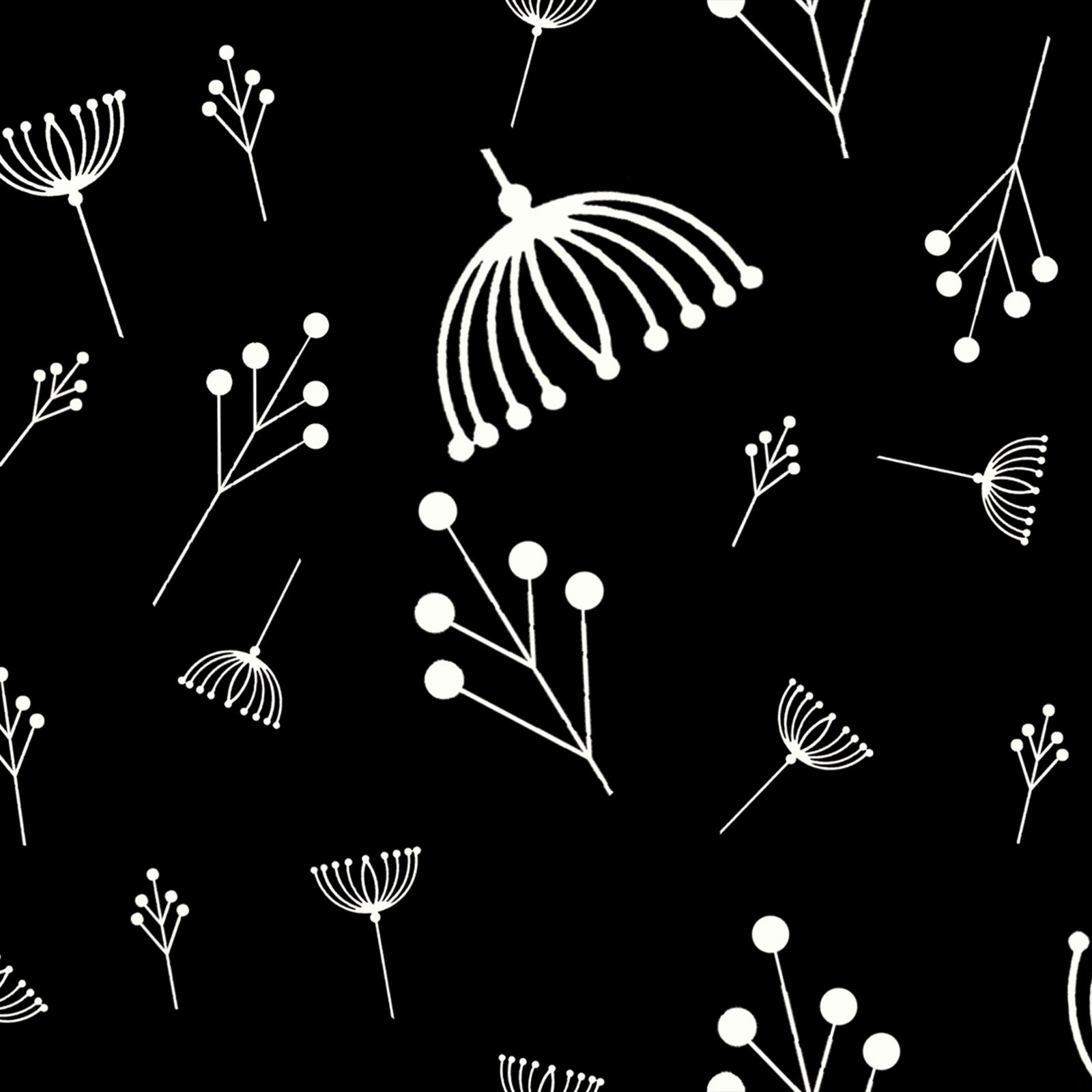 Twigs in Black (Poplin Fabric) by Charley Harper from the Best of Charley Harper collection for Birch #CH87Black