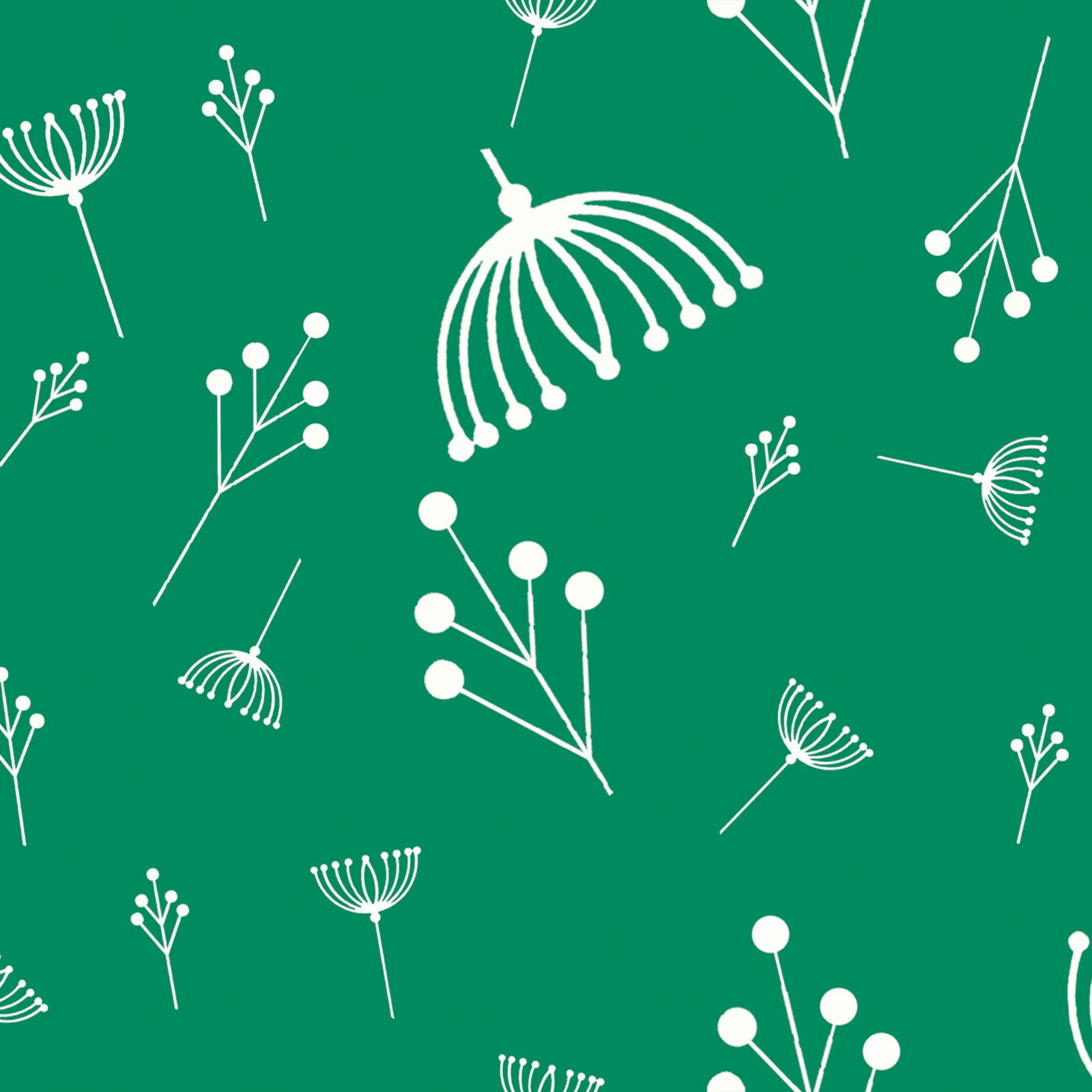 Twigs in Green (Poplin Fabric) by Charley Harper from the Best of Charley Harper collection for Birch #CH87Green