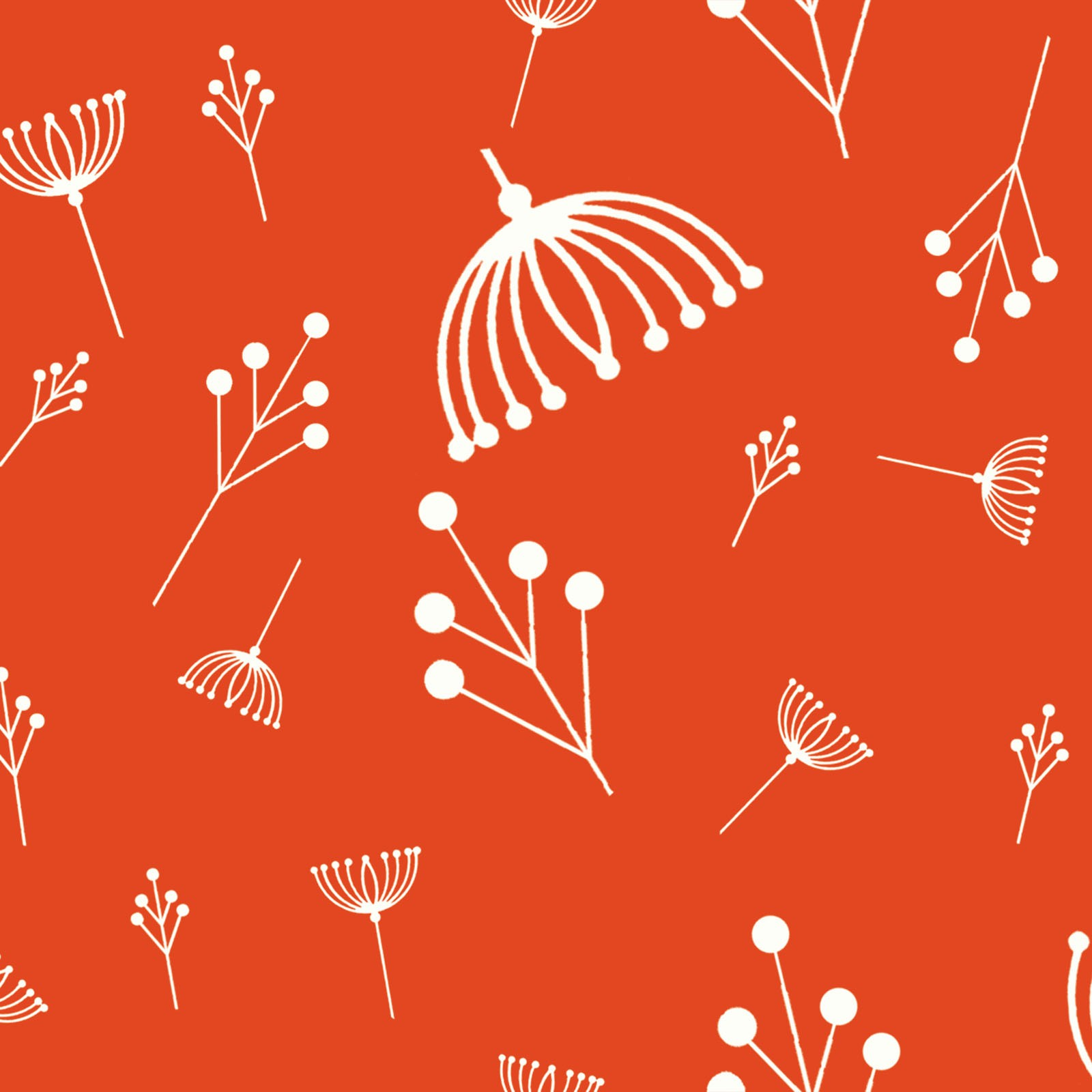 Twigs in Tomato (Poplin Fabric) by Charley Harper from the Best of Charley Harper collection for Birch #CH87Tomato
