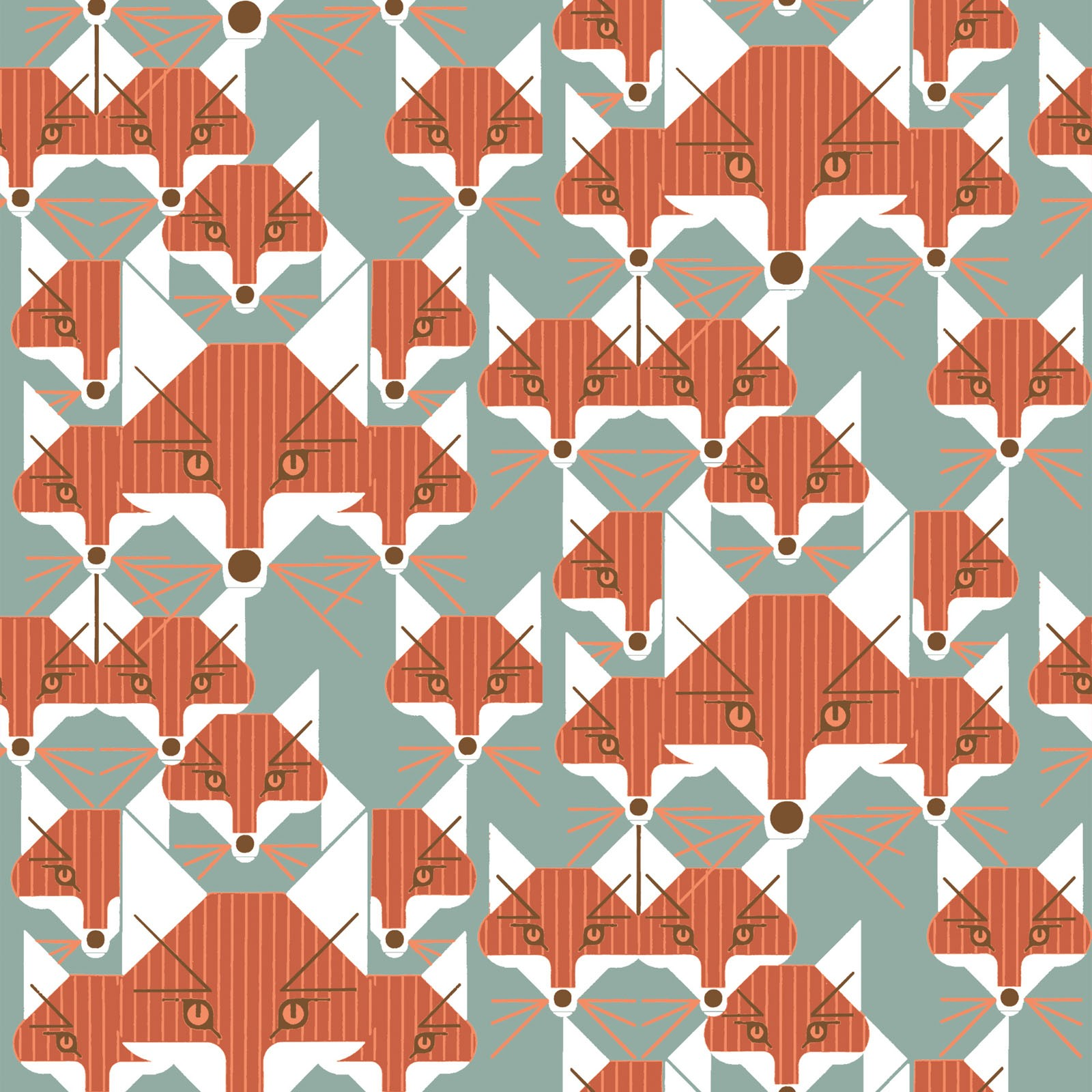 Foxsimiles (Poplin Fabric) by Charley Harper from the Best of Charley Harper collection for Birch #CH88