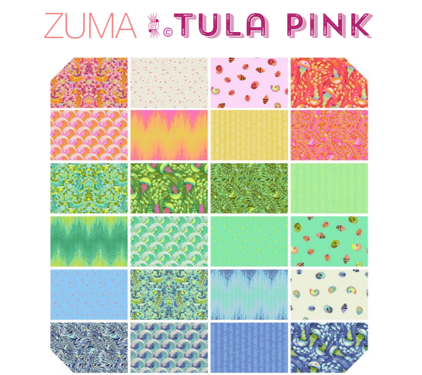 Design Roll (40 pieces) from Free Spirit by Tula Pink from the Zuma collection for Free Spirit #FB3DRTP0918X