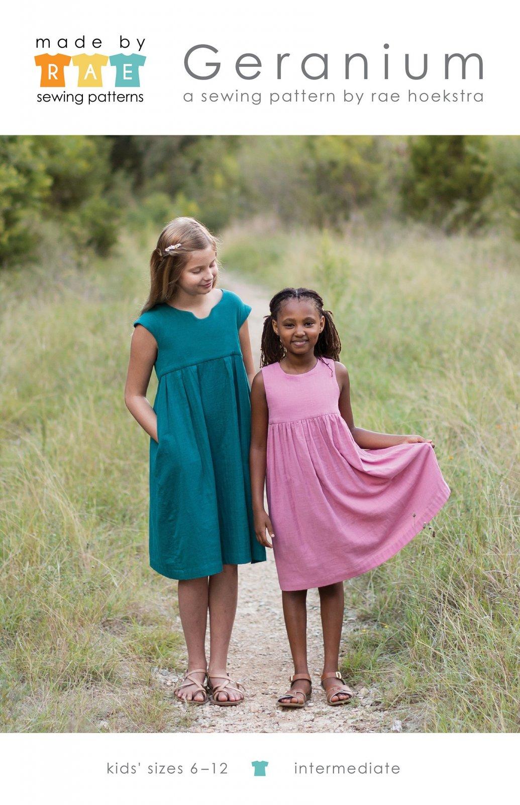 Geranium Dress Pattern Intermediate Sizes 6-12 by Rae Hoekstra