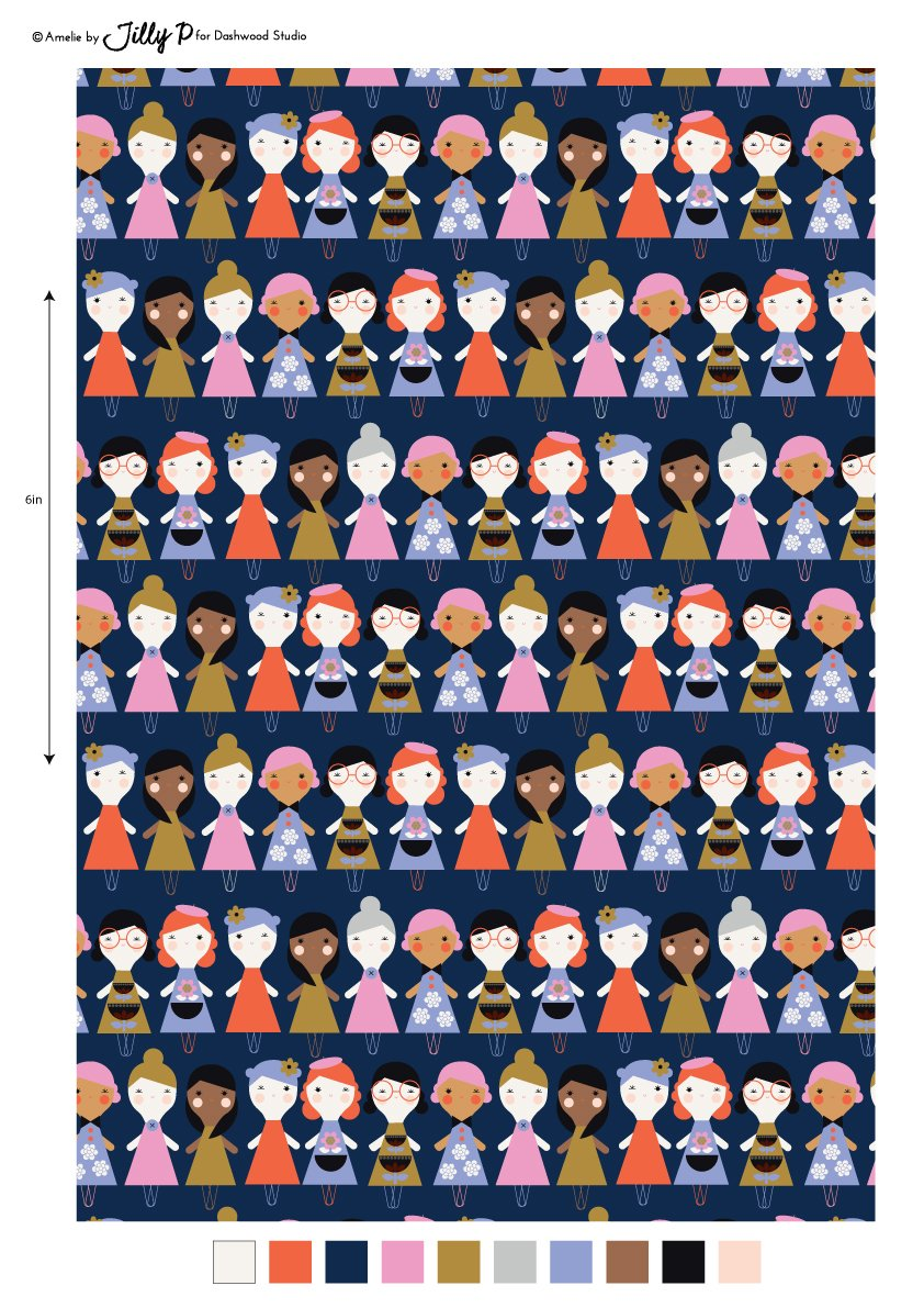 Amel 1430 Friends in Navy from the Amelie Collection by Jilly P for Dashwood Studio
