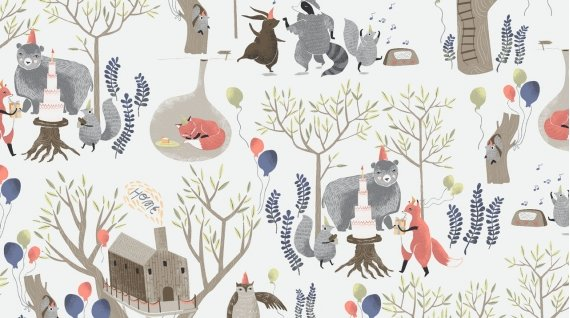 Treetop Party from the Love You To The Moon Collection by Rae Ritchie for Dear Stella