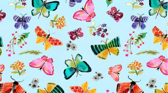 Butterflies in Aqua by August Wren from the Spring Theory collection for Dear Stella #DAWF1092