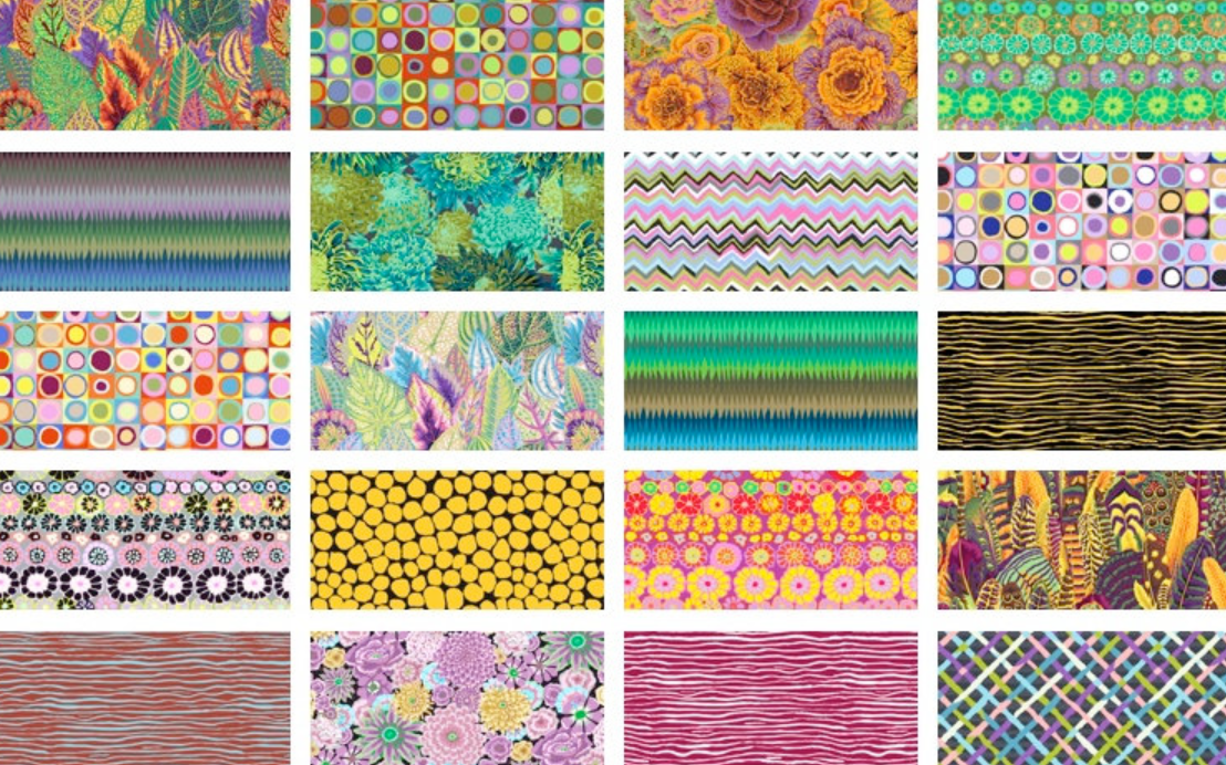 6 Design Strip Roll in Day from Free Spirit by Kaffe Fassett Collective from the Kaffe Fassett Collective Fall 2018 collection for Free Spirit #FB3DSGP.DAYXX