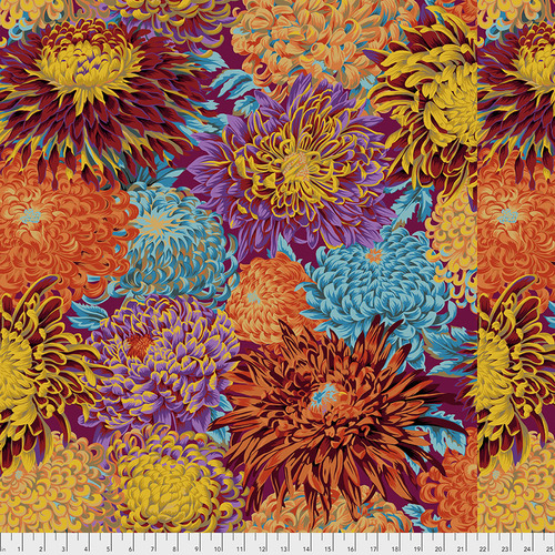 Japanese Chrysanthemum in Autumn by Kaffe Fassett Collective from the Kaffe Fassett Collective Fall 2018 collection for Free Spirit #PWPJ041.AUTUM