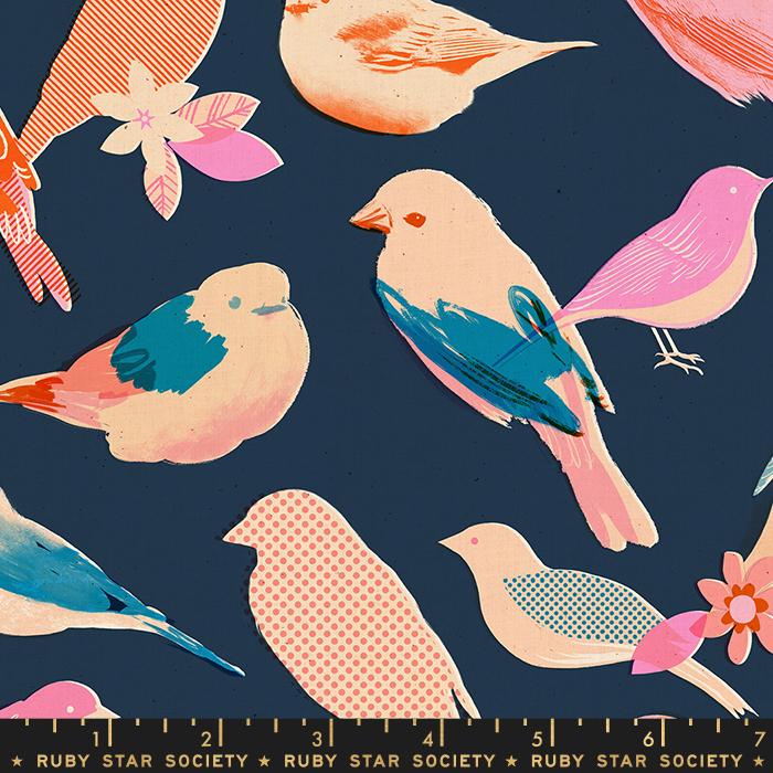 Pre-order: Chirp in Navy by Melody Miller from the Social and Spark collection for Ruby Star Society #RS0002 16