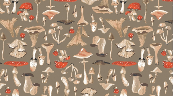 Mushrooms in Praline by Rae Ritchie from the Natural History collection for Dear Stella #Stella-SRR1087