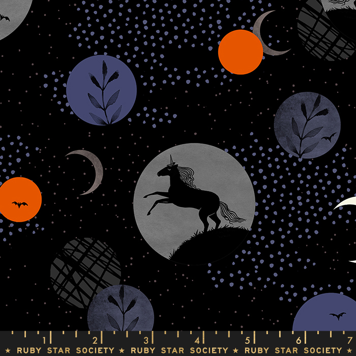 Pre-order: Unicorn Moon in Black by Sarah Watts from the Crescent and Brushed collection for Ruby Star Society #RS200311