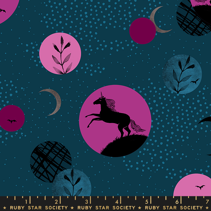 Pre-order: Unicorn Moon in Teal by Sarah Watts from the Crescent and Brushed collection for Ruby Star Society #RS200312