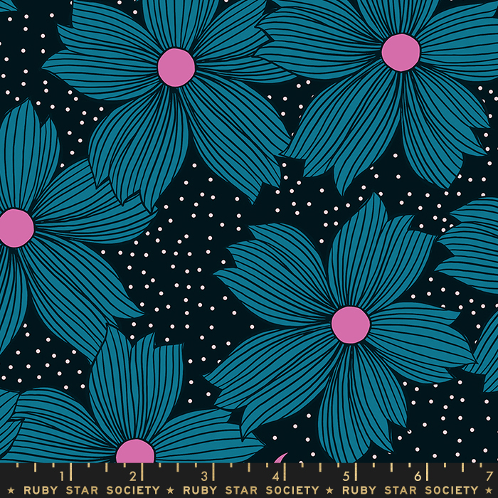 Pre-order: Night Bloom in Teal by Sarah Watts from the Crescent and Brushed collection for Ruby Star Society #RS200412