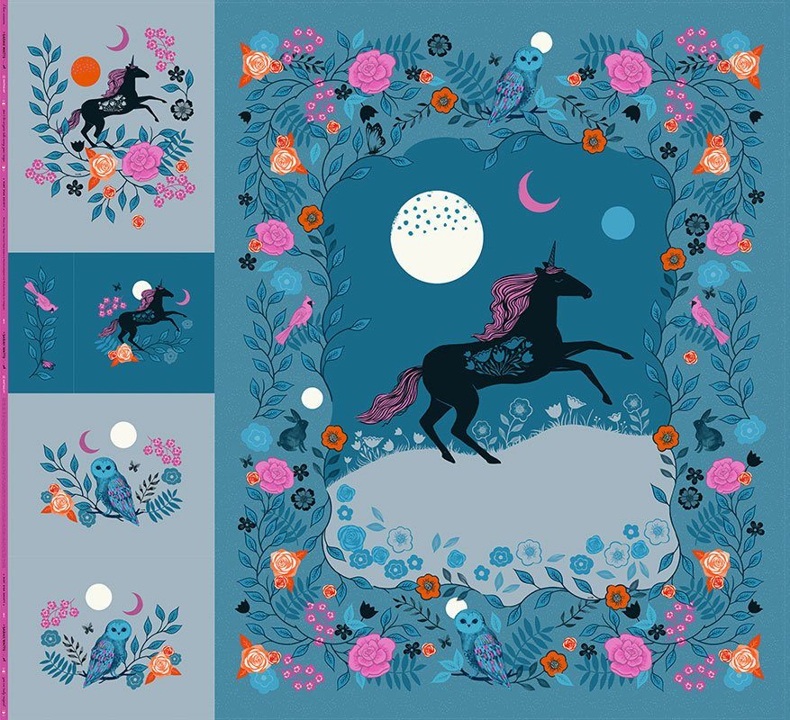 99 x 108 panel, Magic Unicorn in Multi from Ruby Star Society by Sarah Watts from the Crescent and Brushed collection for Ruby Star Society #RS2010P
