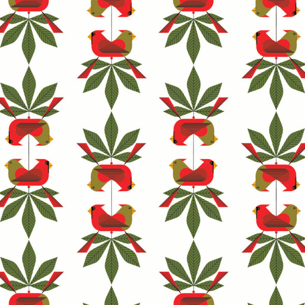 Cardinal Consort (Poplin Fabric) by Charley Harper from the Charley Harper Holiday collection for Birch #CHX-03