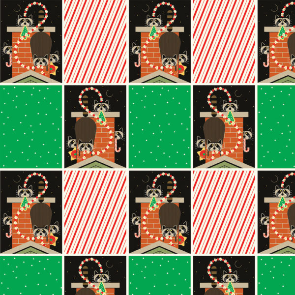 Chimney Capers (Poplin Fabric) by Charley Harper from the Charley Harper Holiday collection for Birch #CHX-08