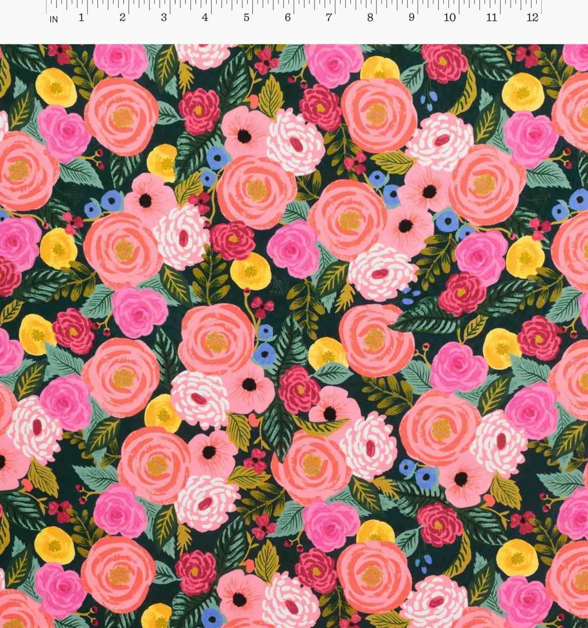 Juliet Rose in Navy (Rayon Fabric) by Rifle Paper Co from the English Garden collection for Cotton and Steel #AB806415