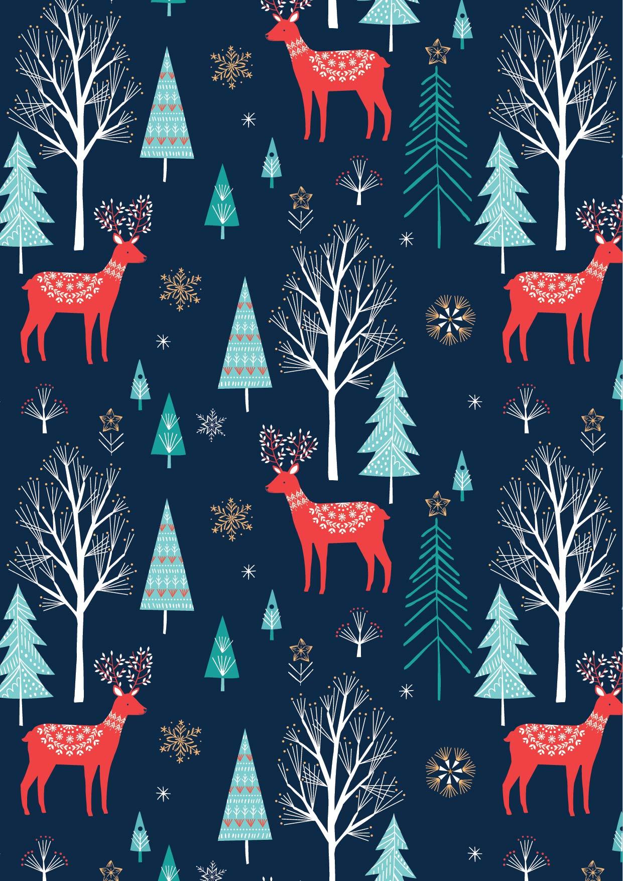 Deer in Navy by Bethan Janine from the Skogen collection for Dashwood Studio #SKOG1528