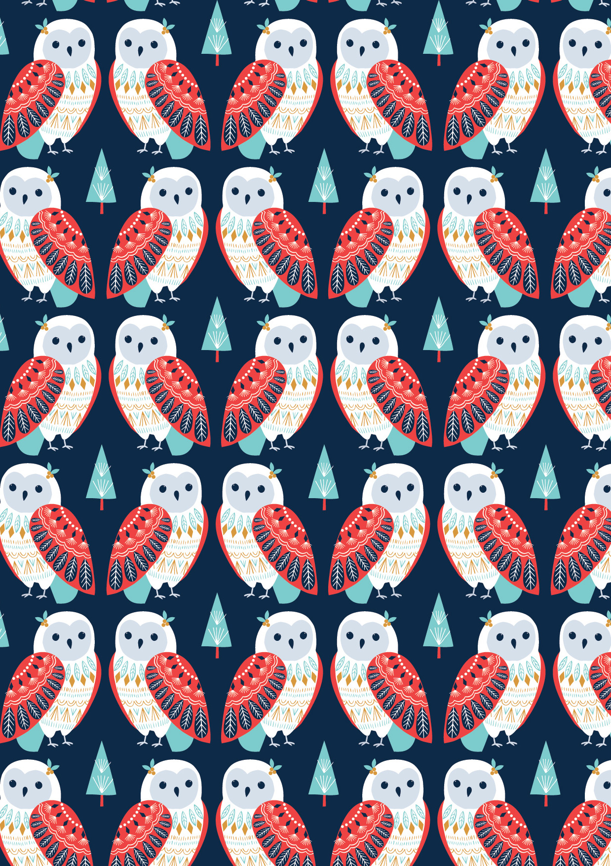 Owls in Navy by Bethan Janine from the Skogen collection for Dashwood Studio #SKOG1532