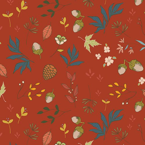 Acorns & Pinecones in Pecan by Maureen Cracknell from the Autumn Vibes collection for Art Gallery #ATV-97209