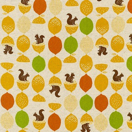 Squirrels and Citrus Cotton Flax Print from Robert Kaufman SB-850254D2-1 CITRUS