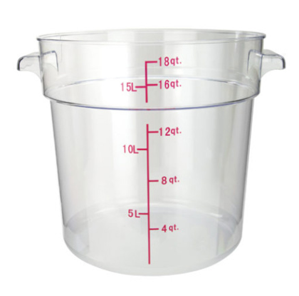 18qt Round Storage Container, Clear, PC