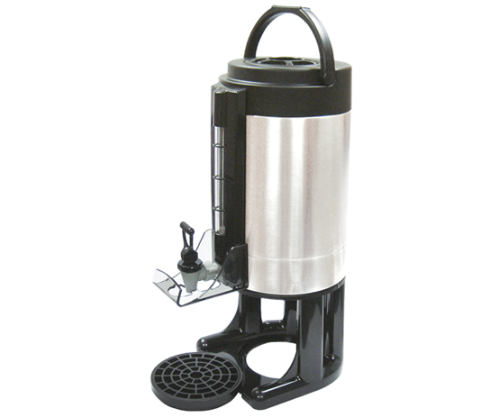 1.5gal Beverage Dispenser w/Sight Glass, Removable Base, Brew-thru Lid, S/S