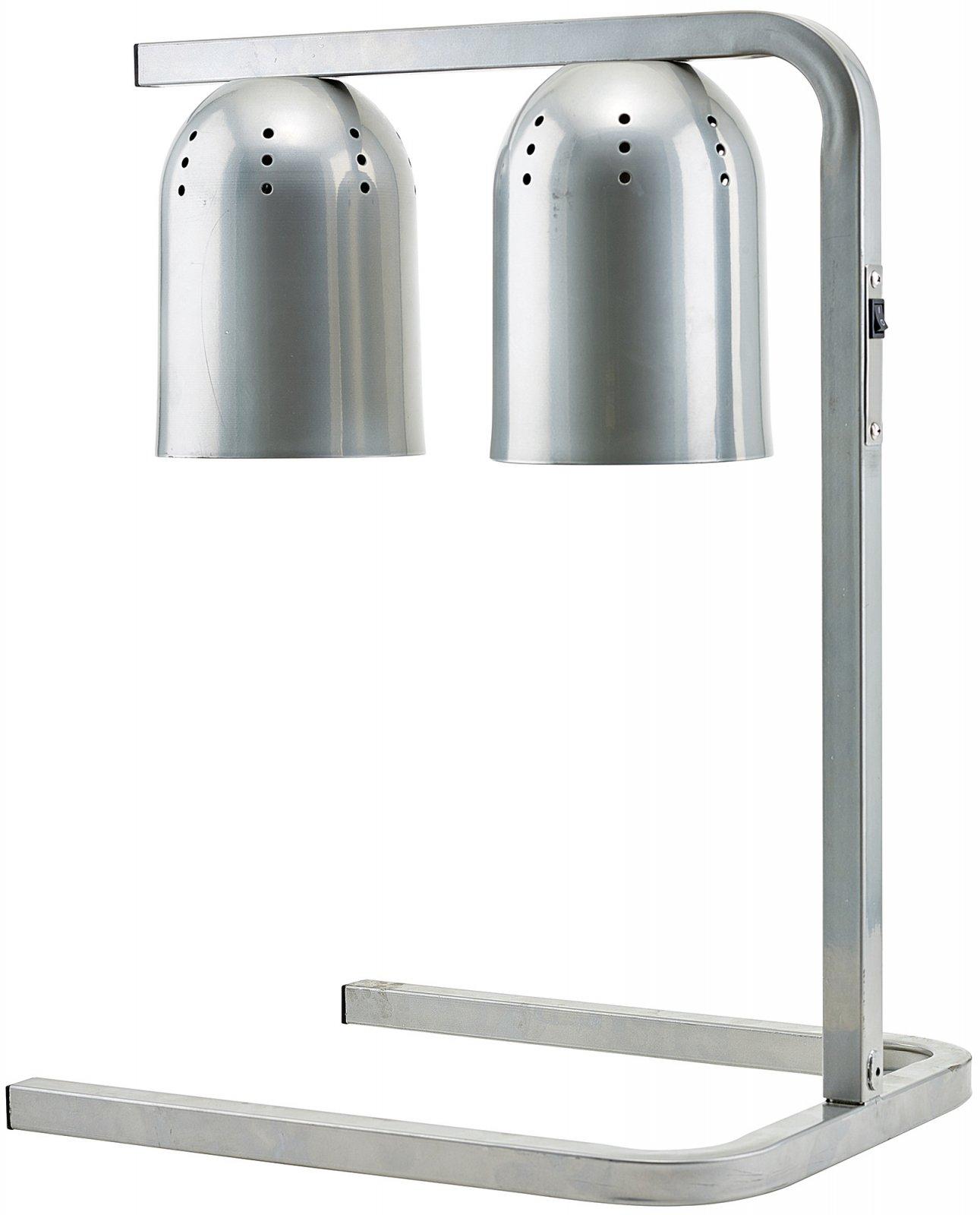 Electric Heat Lamp, Steel Base, Aluminum Light Hood, Two 250 W Bulbs, 120 V