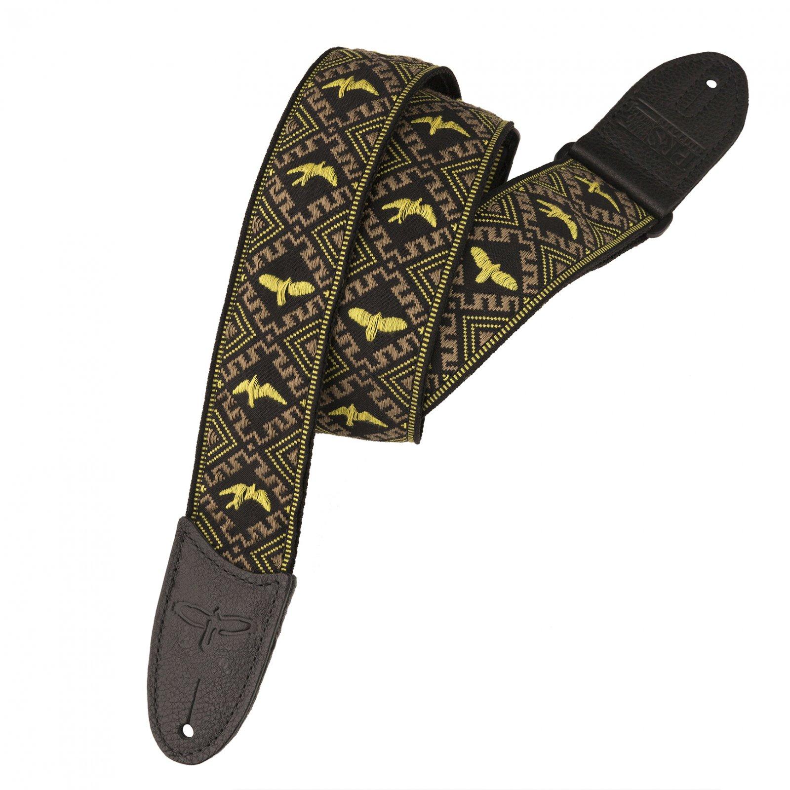 PRS Jacquard Hootenanny Style Guitar Strap, Yellow & Black Birds