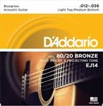 D'Addario 80/20 Bronze Bluegrass Acoustic Light Top/Med. Bottom