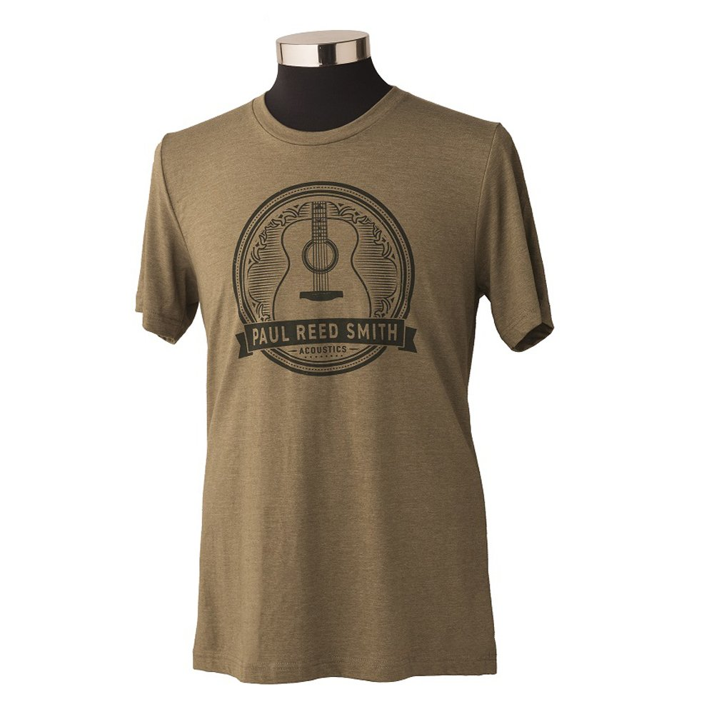 PRS Acoustic Guitar Design T-Shirt Heather Olive, Small
