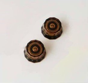 PRS Lampshade Knobs Amber with Black #'s set of 2