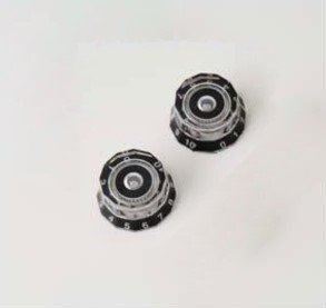 PRS Lampshade Knobs Clear with Black #'s set of 2