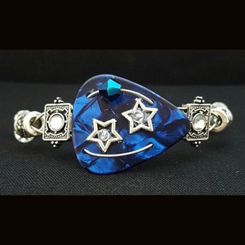 Guitar Pick & Guitar String Bracelet - Blue Stars