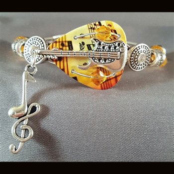 Guitar Pick & Guitar String Bracelet - Amber Music Notes Guitar
