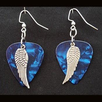 Guitar Pick & Guitar String Earrings - Blue Wings