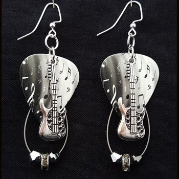 Guitar Pick & Guitar String Earrings - Grey Notes Guitar