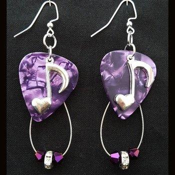 Guitar Pick & Guitar String Earrings - Prince Purple Notes