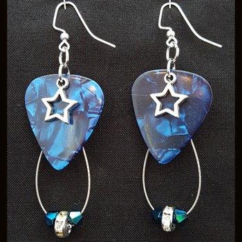 Guitar Pick & Guitar String Earrings - Blue Stars