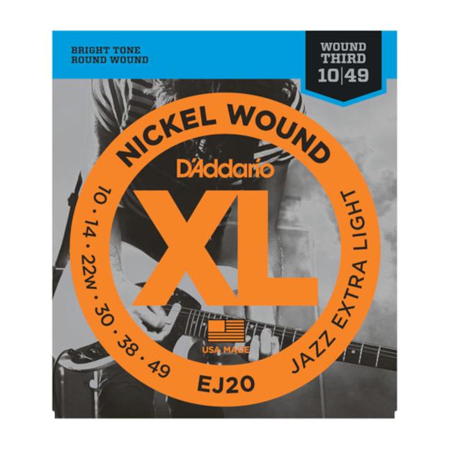 D'Addario EJ20 Nickel Wound Jazz Extra Light 10-49