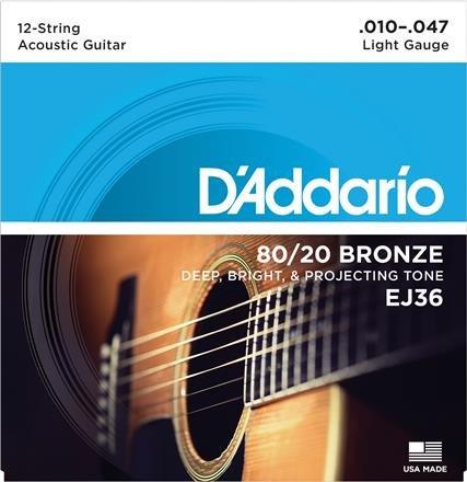D'Addario EJ36 12-String 80/20 Bronze Light Acoustic Guitar Strings