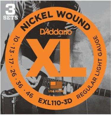 D'Addario EXL110-3D Nickel Wound Electric Guitar Strings, Regular Light, 10-46, 3 Set