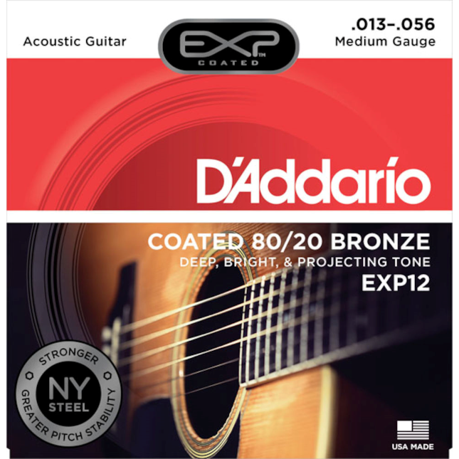 D'Addario Coated 80/20 Bronze Acoustic Guitar Strings Medium 13-56