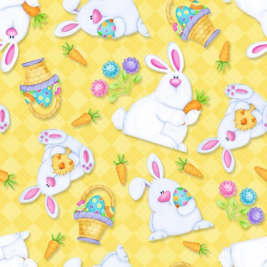 Hippity Hop -  Bunnies and Baskets Yellow